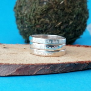Sterling Silver Engraved Boho Stack Ring