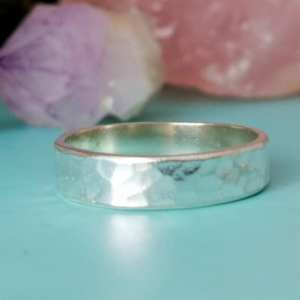 Sterling Silver Hammered Ring 4mm