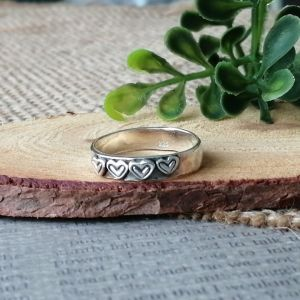 Sterling Silver Rustic Silver Heart Ring