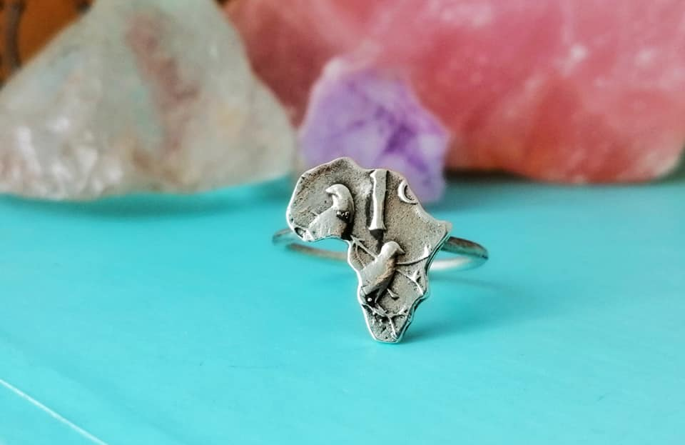 Sterling Silver 1c Coin Africa Ring