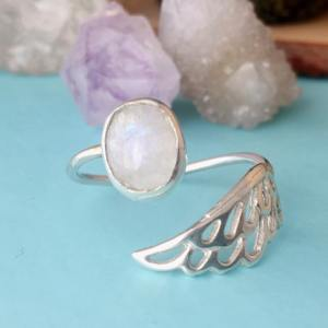 Sterling Silver Limited Edition Adjustable Angel Wing Ring - Moonstone