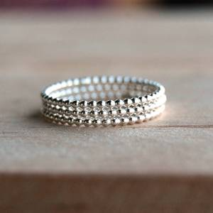 Sterling Silver Ball Bead Stack Rings
