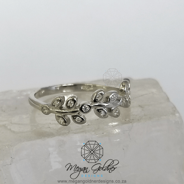 Sterling Silver CZ Dainty Leaves Ring