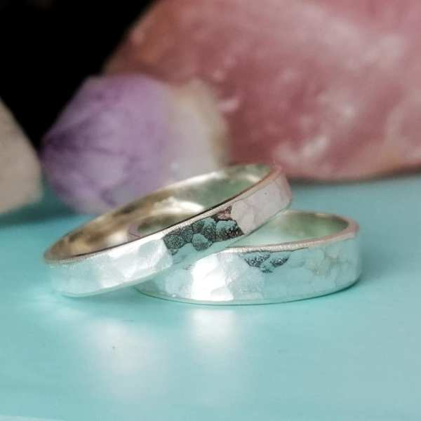 Sterling Silver Couples Rings - Hammered