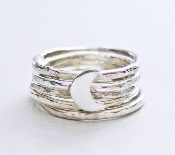 Sterling Silver Crescent Moon Stack Rings