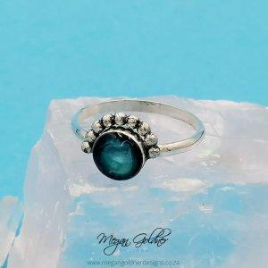 Sterling Silver Keepsake Bead Half Halo Ring