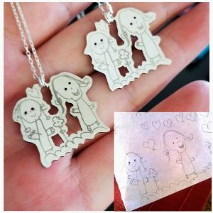 Sterling Silver Kids Drawing Necklace