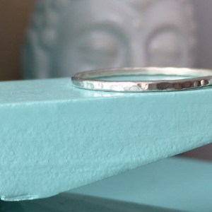 Sterling Silver Skinny Hammered Ring