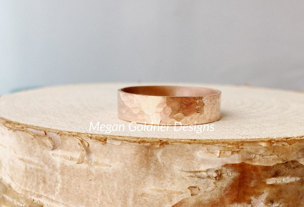 Copper Wide Hammered Ring