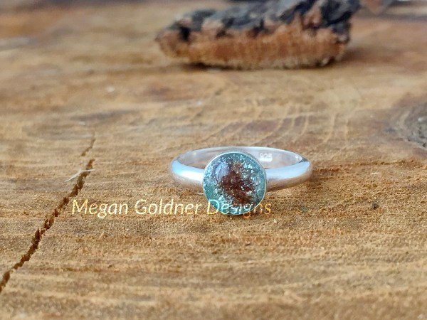 Sterling Silver Memorial Ash Ring - Round Bezel