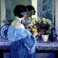 Girl In Blue Arranging Flowers, Frederick Carl Frieseke
