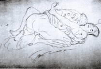 Lovers, drawn from the right, Gustav Kilmt