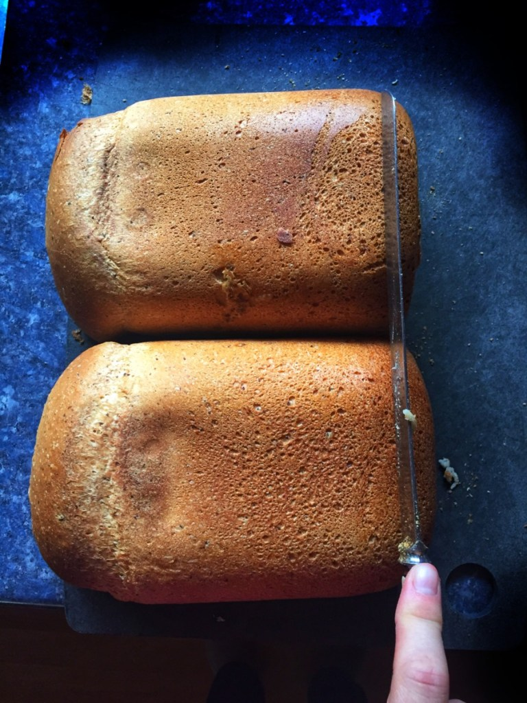 Two loaves of Easy Basic Vegan Bread