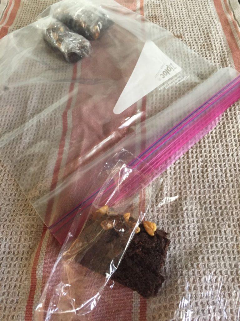 Ultimate Vegan Brownies shown being frozen
