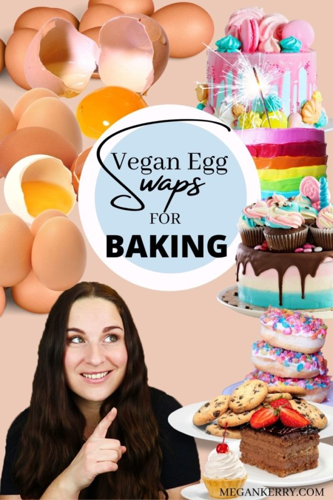 """Pinterest image with eggs cracked in the background on the left and cakes and cookies on the right. Text reads, """"Vegan Egg Swaps for Baking""""."""