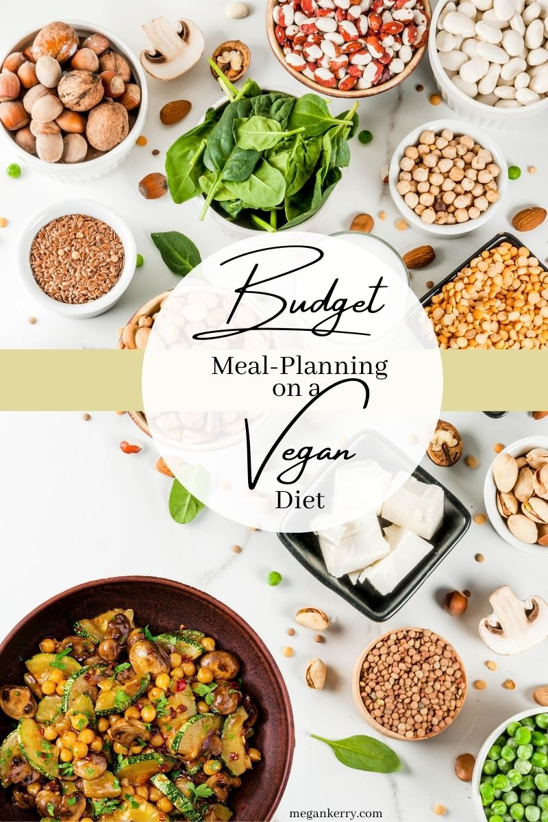 """image shows budget vegan meal options like rice, beans, and vegetables. Text reads, """"Budget Meal Planning on a Vegan Diet""""."""