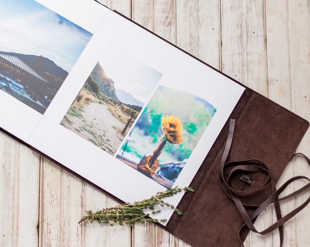 Leather bound wedding album by laramie wyoming wedding photographer