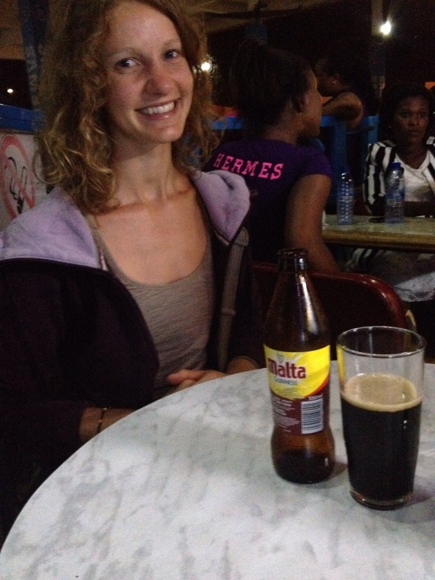 And finally, at the airport on her way home, we finally tried a Malta. And it was kind of disgusting. It tastes like Shreddies milk.
