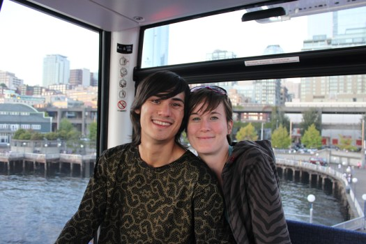 James and I riding the wheel in Seattle