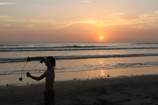 James Spinning on Playa Quizala at Sunset, Nicaragua 2014