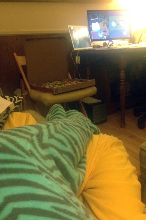 Onesie snuggles, pizza, and Adventure Time right after getting home. Ahhh this is home and it is SO GOOD.