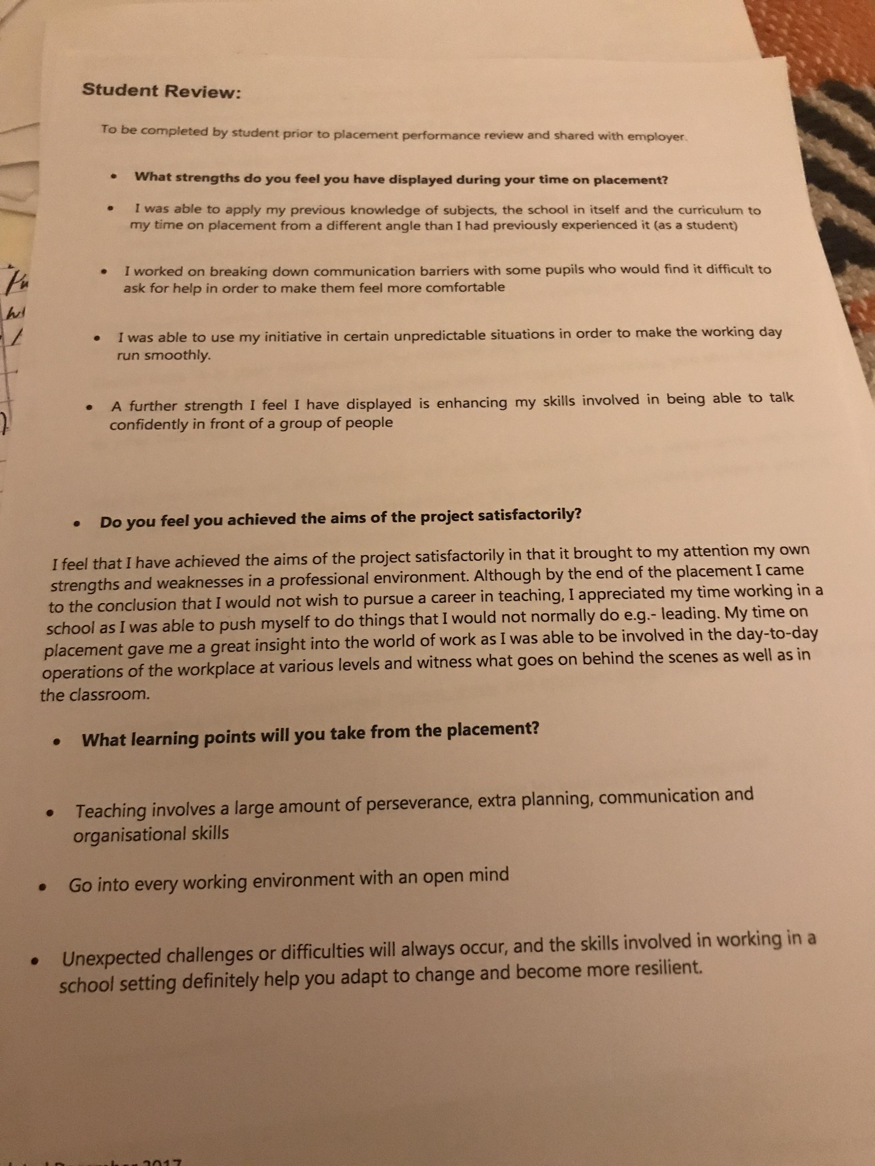 Section 3 Internship Performance Review Megan S