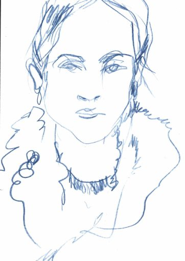 fashion illustration portrait of woman with hoop earrings and a fur collared coat