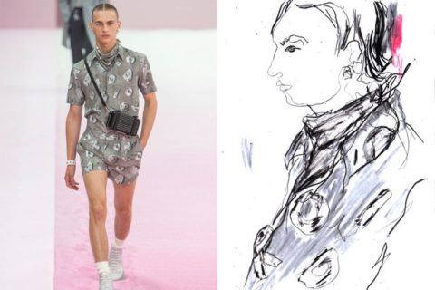 Dior Homme drawn live at the show for Esquire Singapore