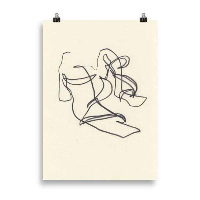minimal sandals line art print