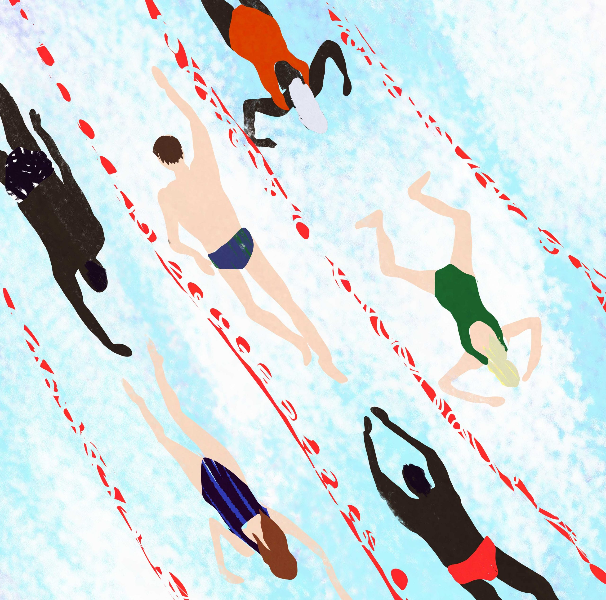 editorial illustration of people swimming in a swimming pool by illustrator megan st clair