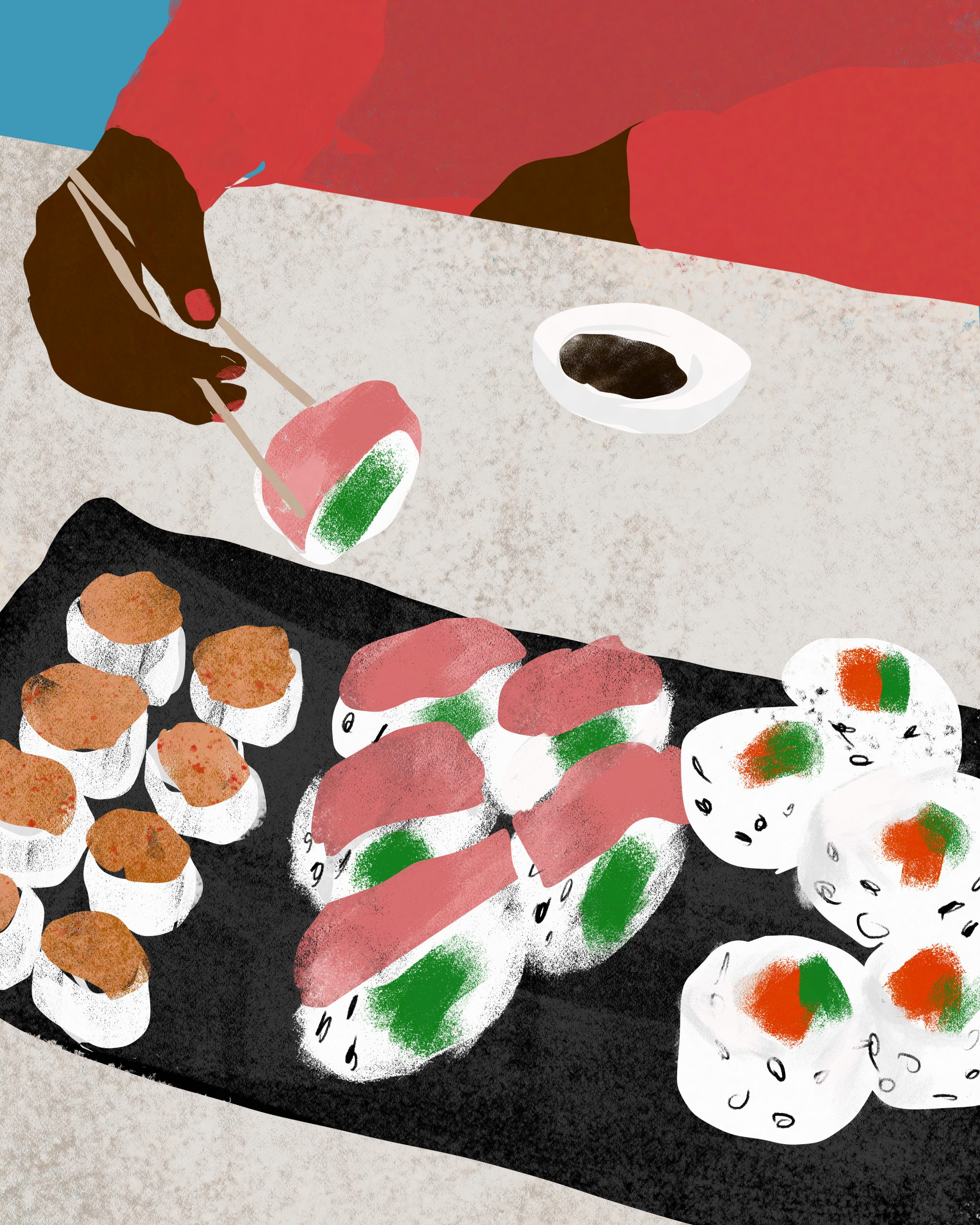 an illustration of someone eating a plate of sushi by lifestyle illustrator megan st clair