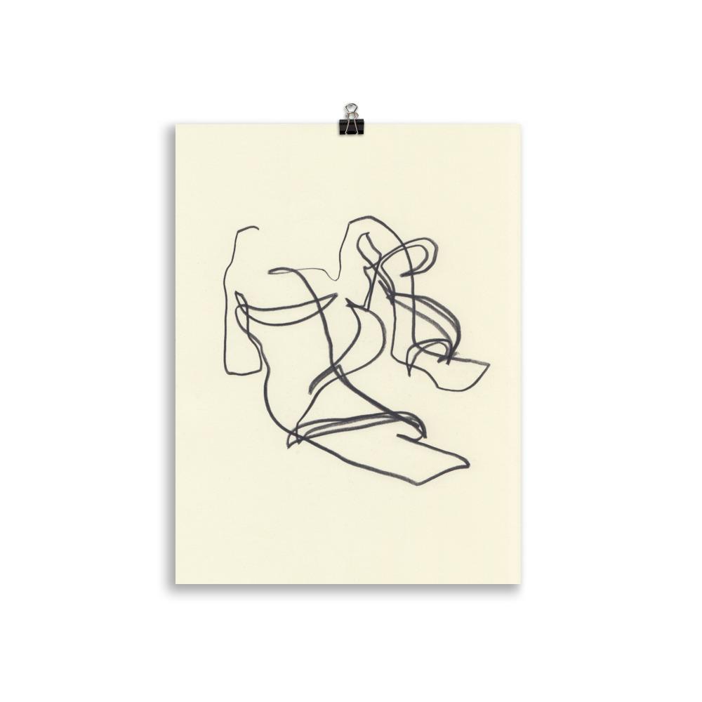 abstract line art of jacquemus minimal sandals by Megan St Clair, original artwork