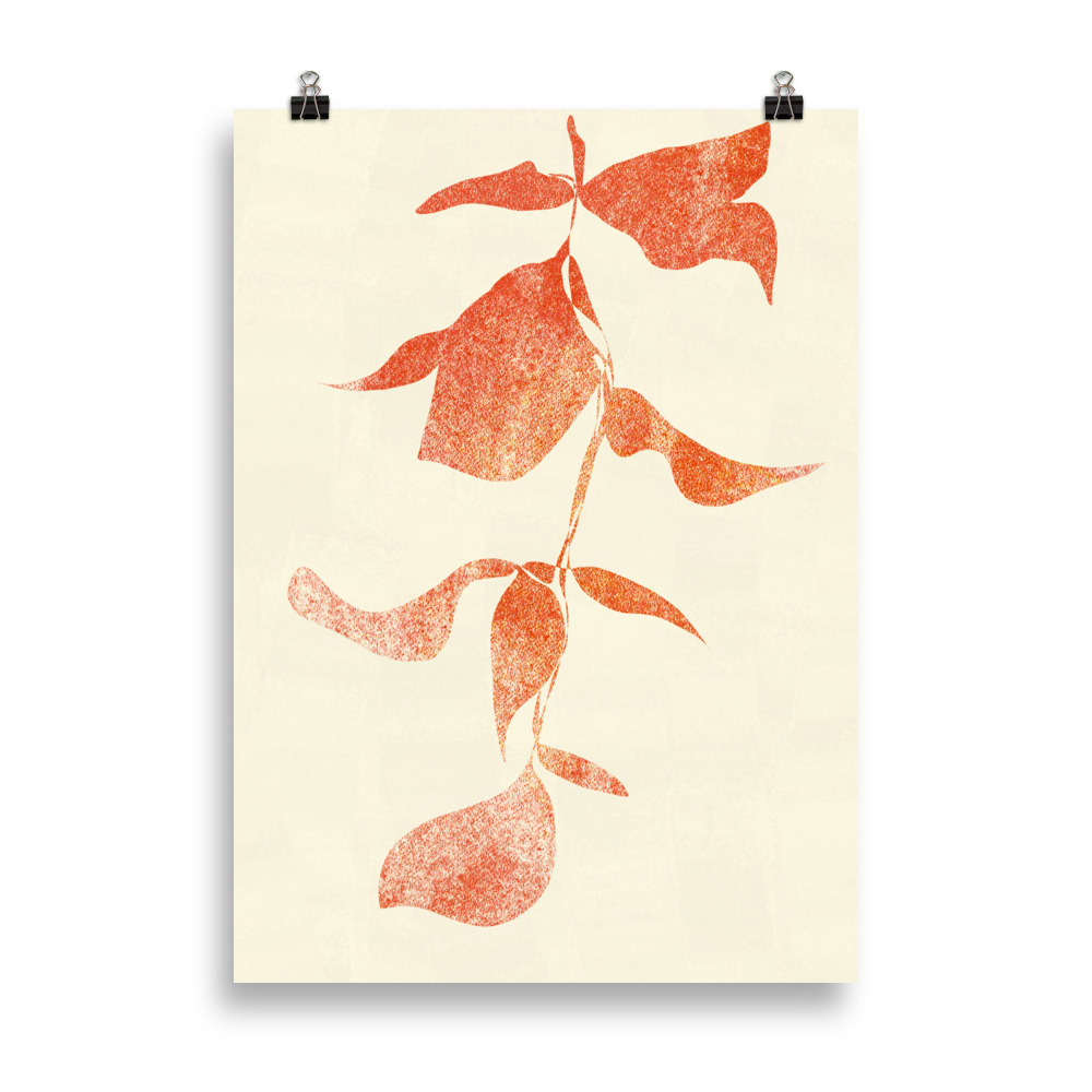 Plant minimal artwork from Megan St Clair on a cream background perfect art for interior