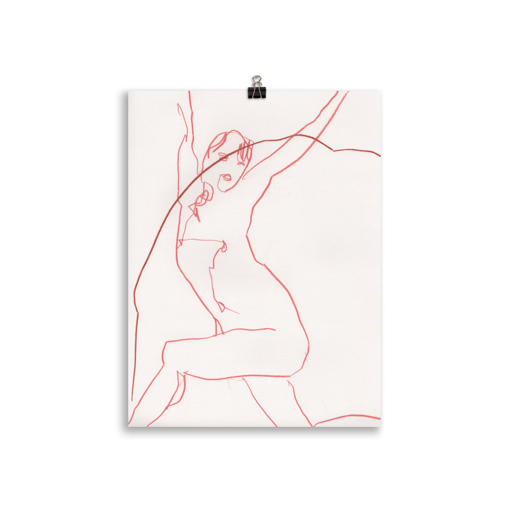 Just stretch' nude woman line drawing   Art print Lifestyle illustration Megan St Clair