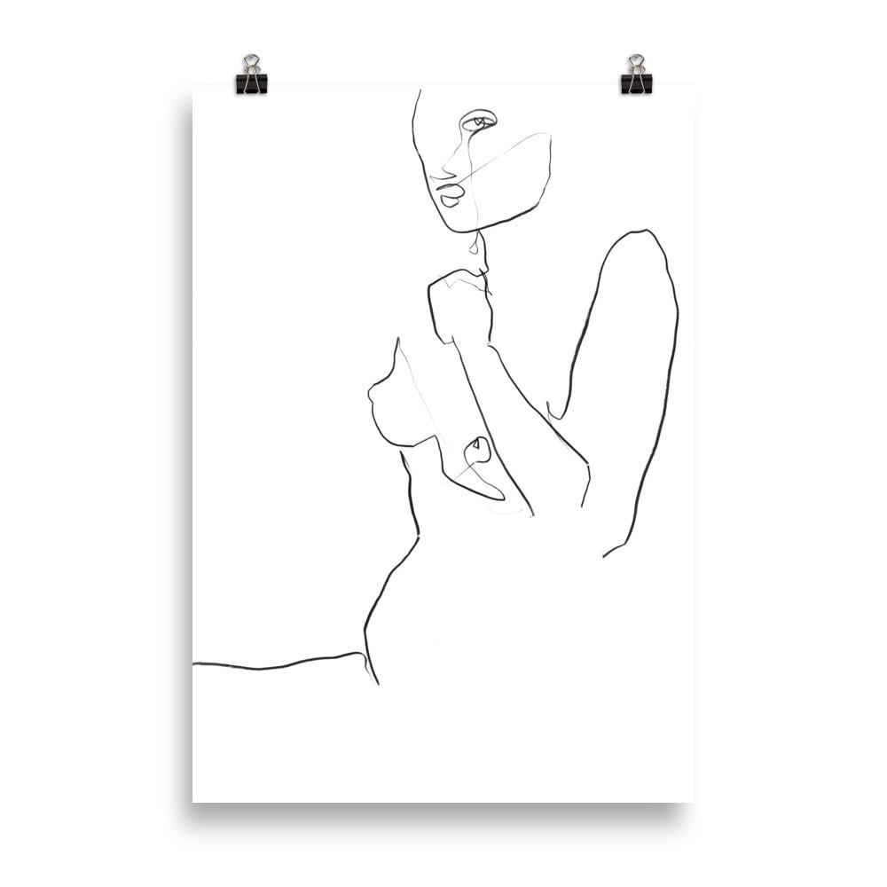 Looking nude line drawing | Art Print