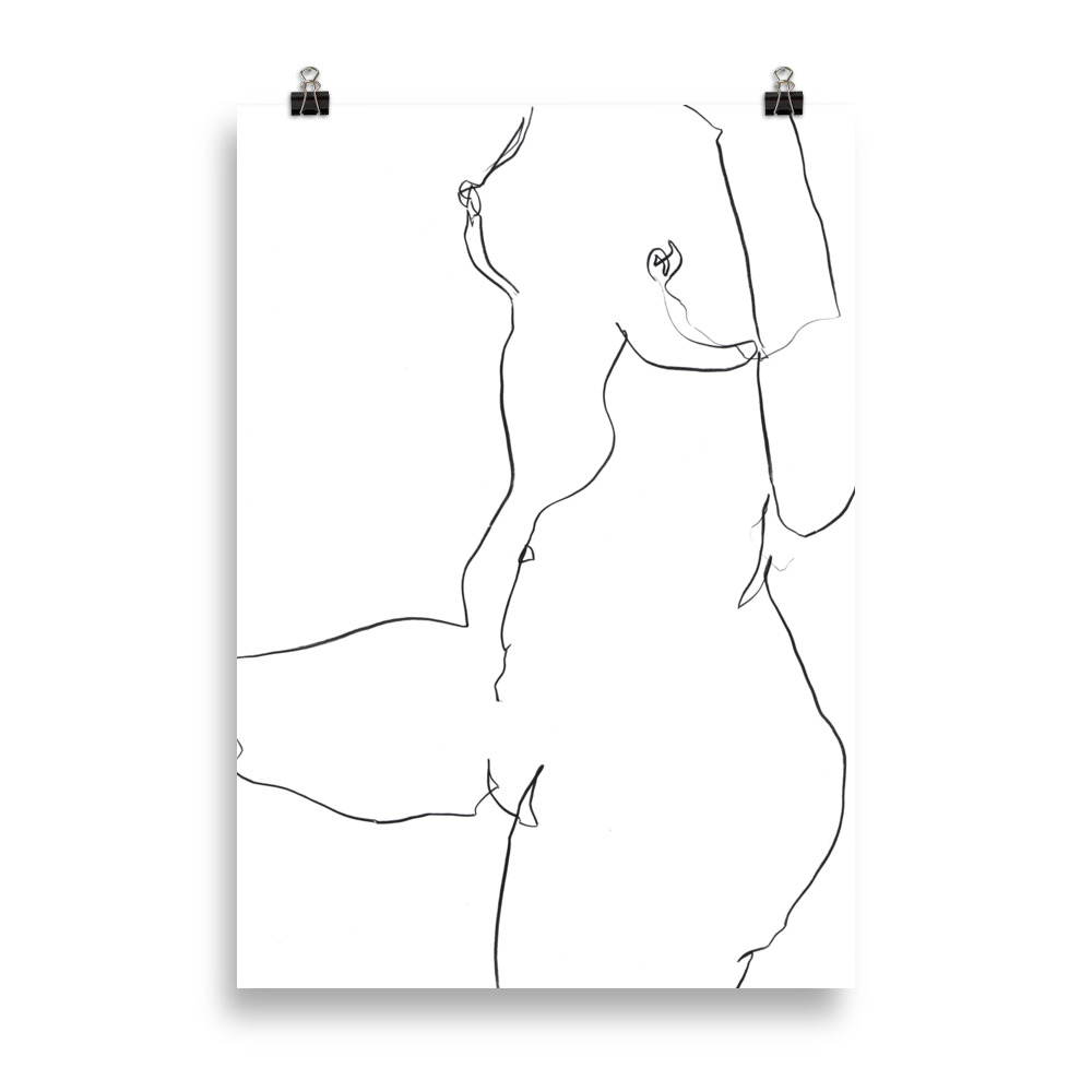 'Lounging nude' line drawing | Art Print