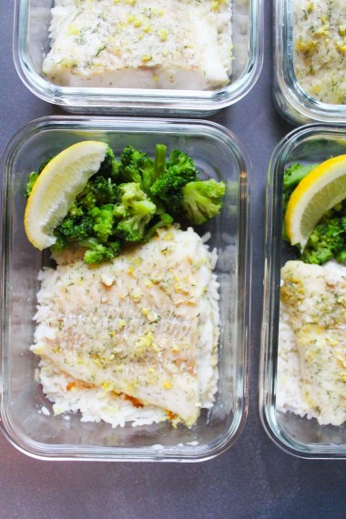 Lemon & Dill Baked Cod on rice with veggies in a meal prep container