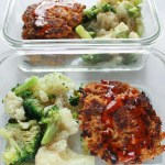 Tuna cakes with Sweet Chili sauce on them in a meal per container with broccoli