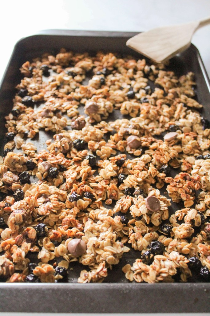 Easy Chocolate Blueberry Granola on a baking sheet.