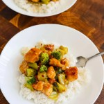 Easy Healthy Orange Chicken over rice in a while bowl.