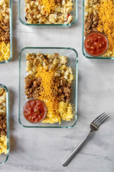 Taco Scramble Breakfast in a Meal Prep container