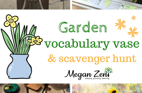 Garden Vocabulary Vase and Scavenger Hunt
