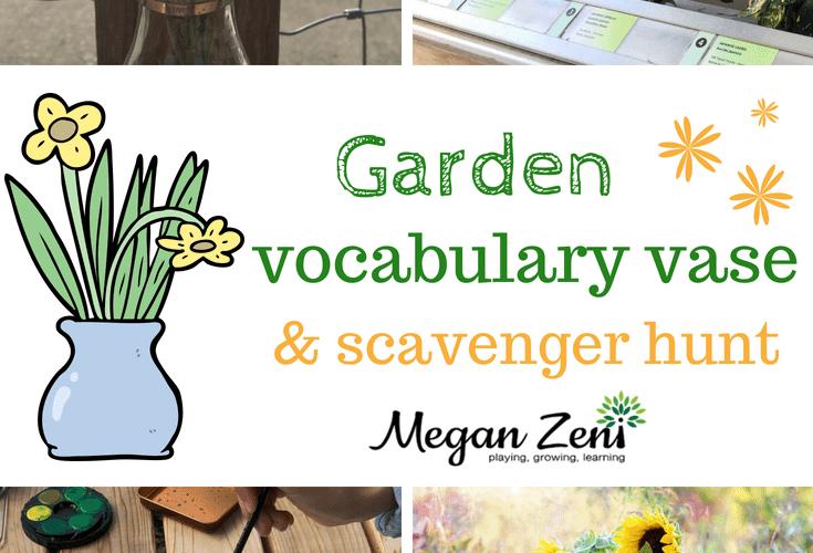 Garden Vocabulary Vase and Scavenger Hunt