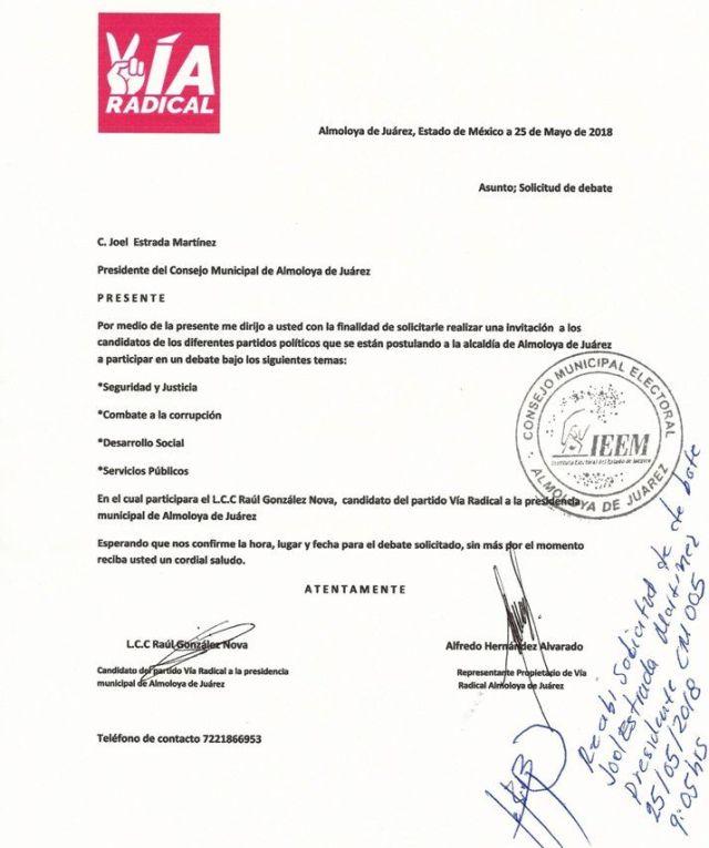 Partidos políticos en Almoloya rechazan debate
