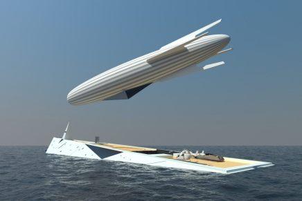 Atrévete a soñar con este concepto de súper yate de 140 metros con dirigible incluido