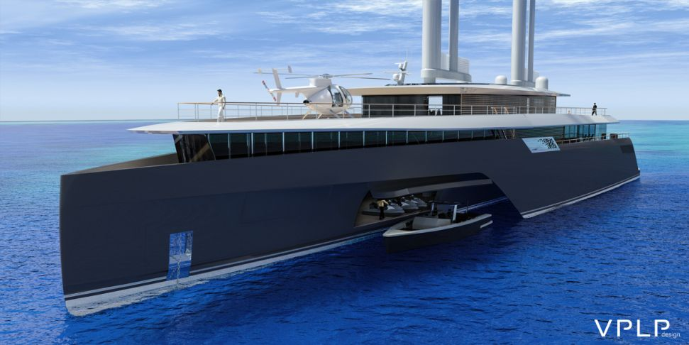 El mega concepto del trimarán Komorebi 282' derrocha estilo sobre el mar