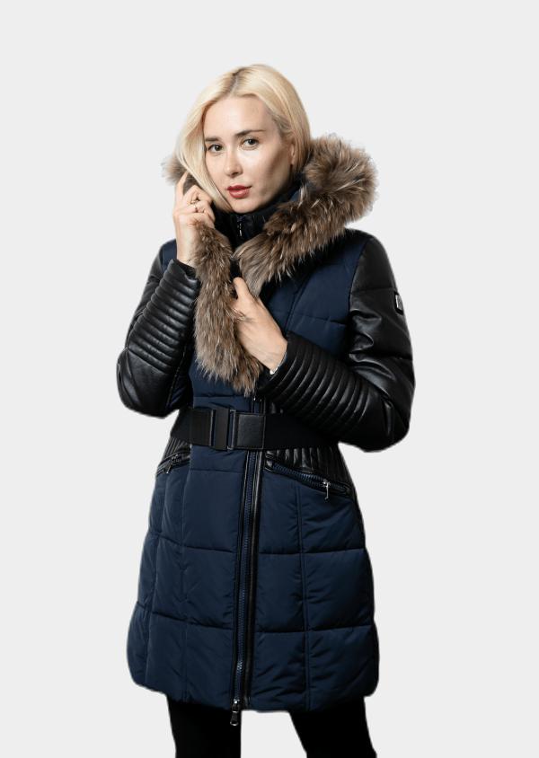 manteau Bleu avec forrure