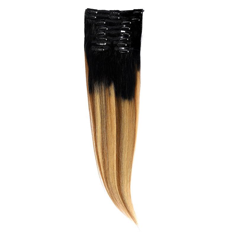 Clip-On Par Natural 60cm 100gr Balayage Negru Deschis/Saten Luminos/Blond Opal 1B/8/22