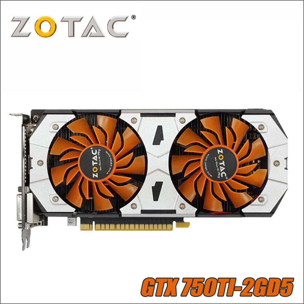 Original ZOTAC Video Card GPU GTX 750Ti 2GB 128Bit GDDR5 Graphics Cards Map  for nVIDIA GeForce GTX750 Ti 2GD5 GTX 750 1050