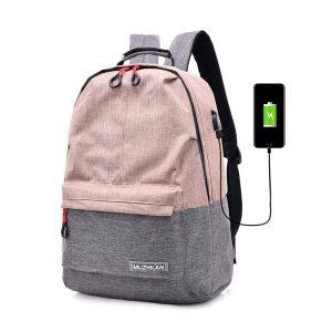 Bagpack Women College Canvas Backpack usb Charger Charging Schoolbag for Laptop Backpacks for Men Ba...